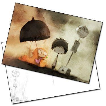 Carte postale extrait les enfants à l'arrêt de bus de Jérémie Almanza
