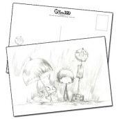 Carte postale les enfants à l'arrêt de bus croquis de Jérémie Almanza