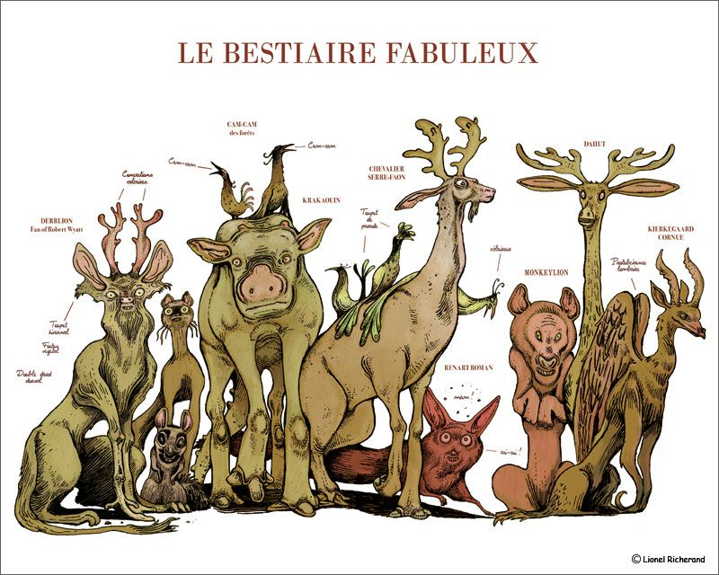 Affiche Bestiaire en couleur de Lionel Richerand