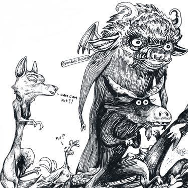 Détail illustration carte postale Les Krakaouins