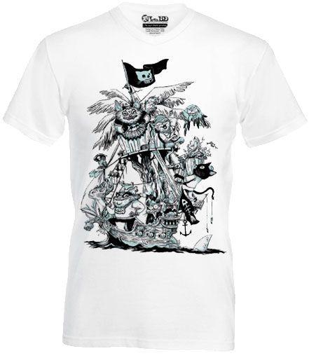 T-Shirt L'île Aux Chats Pirates signé Lionel Richerand modèle homme