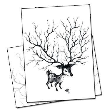 carte postale le cerf par benjamin basso