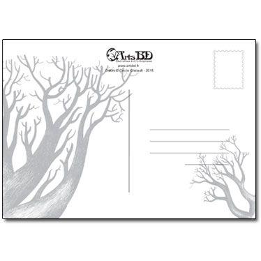 Verso de la carte avec des arbres