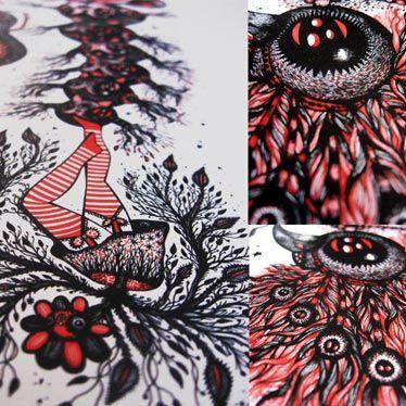Détail affiche noir, rouge et blanc Spirit Into The Flesh
