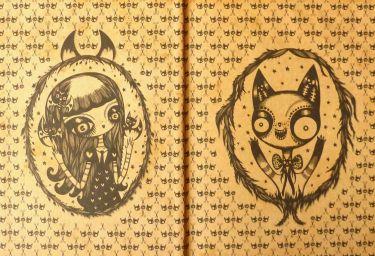 Double page de garde illustrée Chat simois beige