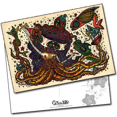 Carte postale Octopus Siamese Twins Symdrom de Ciou