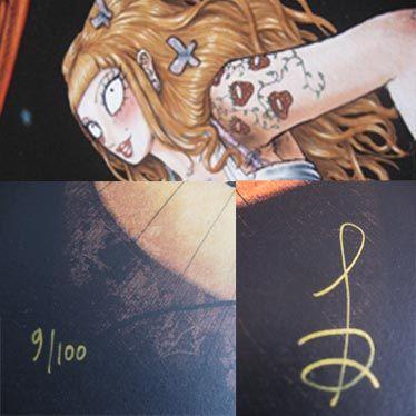 Détail de l'affiche Burlesque Girrrl numérotée et signée