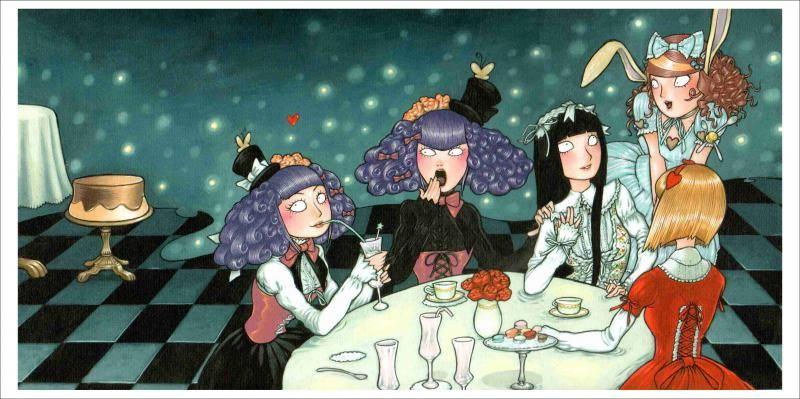Affiche Gothic lolitas prenant le thé par François Amoretti