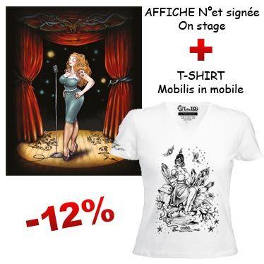 Affiche numérotée signée et t-shirt illustré de François Amoretti