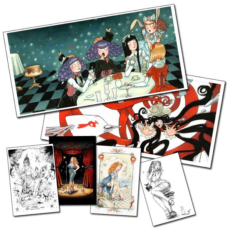 Petite affiche Gothic Lolita et cartes postales de François Amoretti