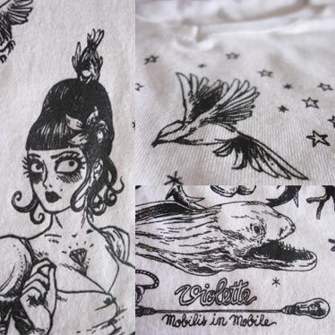Détail illustration t-shirt Violette