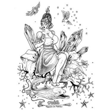 Illustration t-shirt Violette en noir et blanc