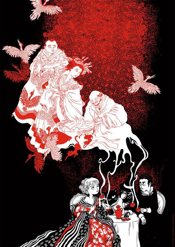 Affiche Tea Party noir et rouge de Nancy Peña
