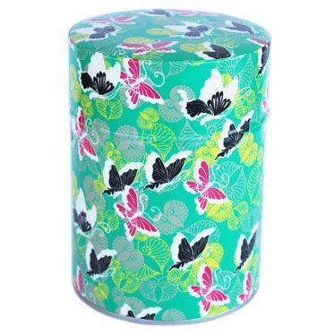 Boite à thé Pluie de papillons sur fond vert signée Nancy Peña