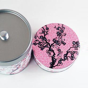 Boîte à thé Fleur de prunier vue de dessus