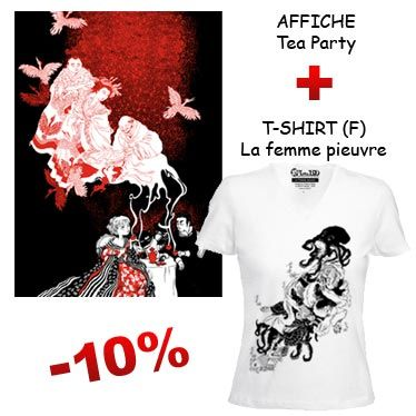Affiche Tea Party et T-shirt La Femme Pieuvre de Nancy Peña