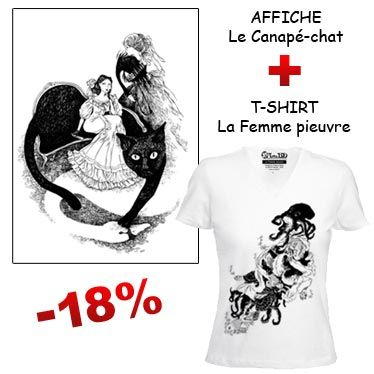Affiche Canapé Chat et t-shirt illustré par Nancy Peña