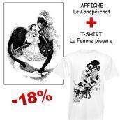 Affiche illustrée Canapé Chat et t-shirt La Femme Pieuvre
