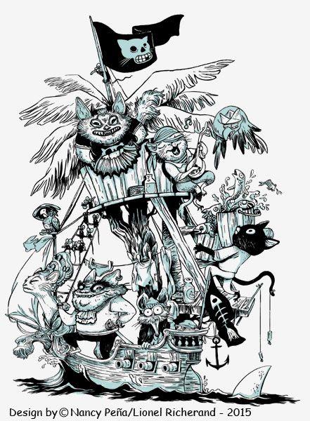 T-Shirt L'île Aux Chats Pirates signé Nancy Peña modèle femme