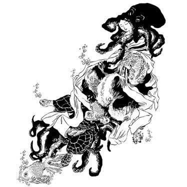 T-Shirt La Femme Pieuvre noir et blanc de Nancy Peña