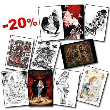 Lot de 10 Carte Postales d'auteurs de bande dessinée et d'illustration