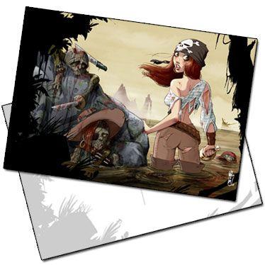 Carte postale La pirate aux zombies illustrée par William Maury