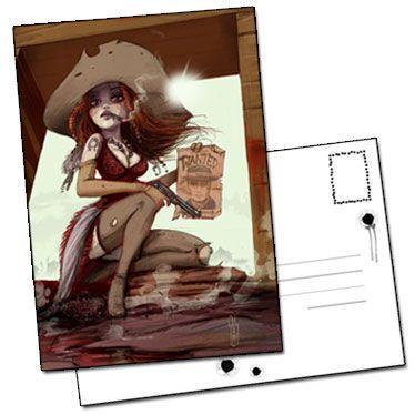 Carte postale La chasseuse de primes illustration William Maury