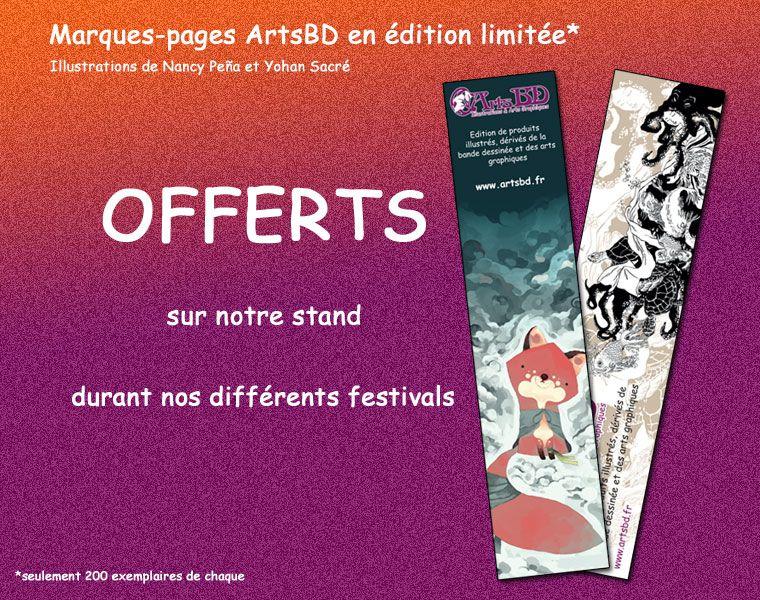 2 marque-pages illustrés par Nancy Peña et Yohan Sacré offerts