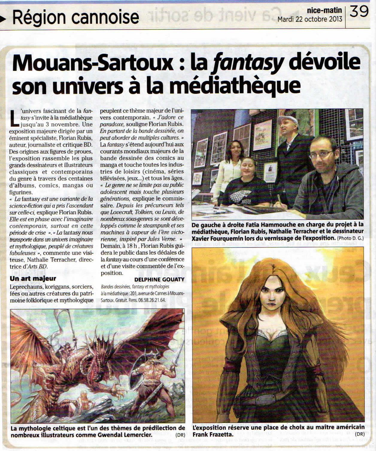 article nice matin du 22 octobre 2013